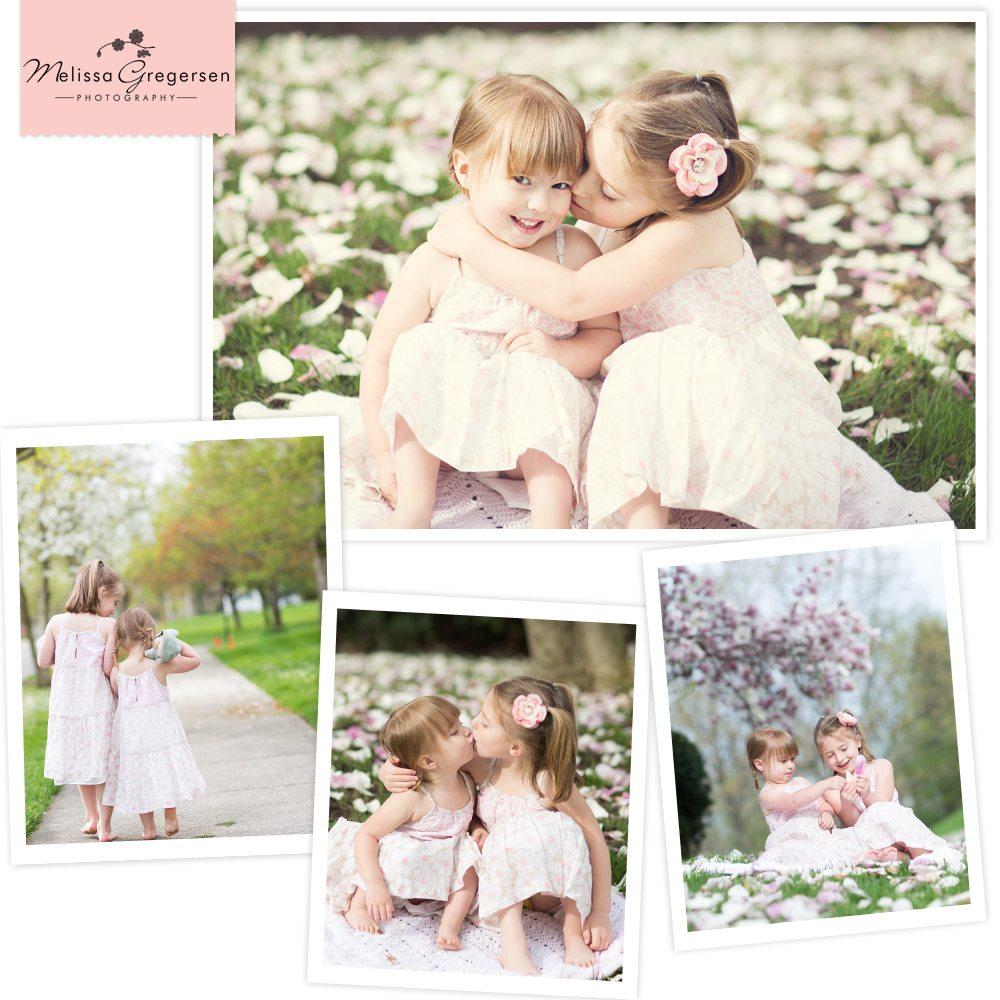 Kalamazoo Portage Plainwell Michigan Children Photography girl sisters pink flowers