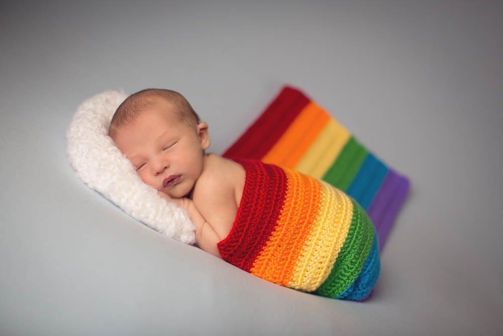 Rainbow Newborn Baby Photography Session in Kalamazoo Michigan