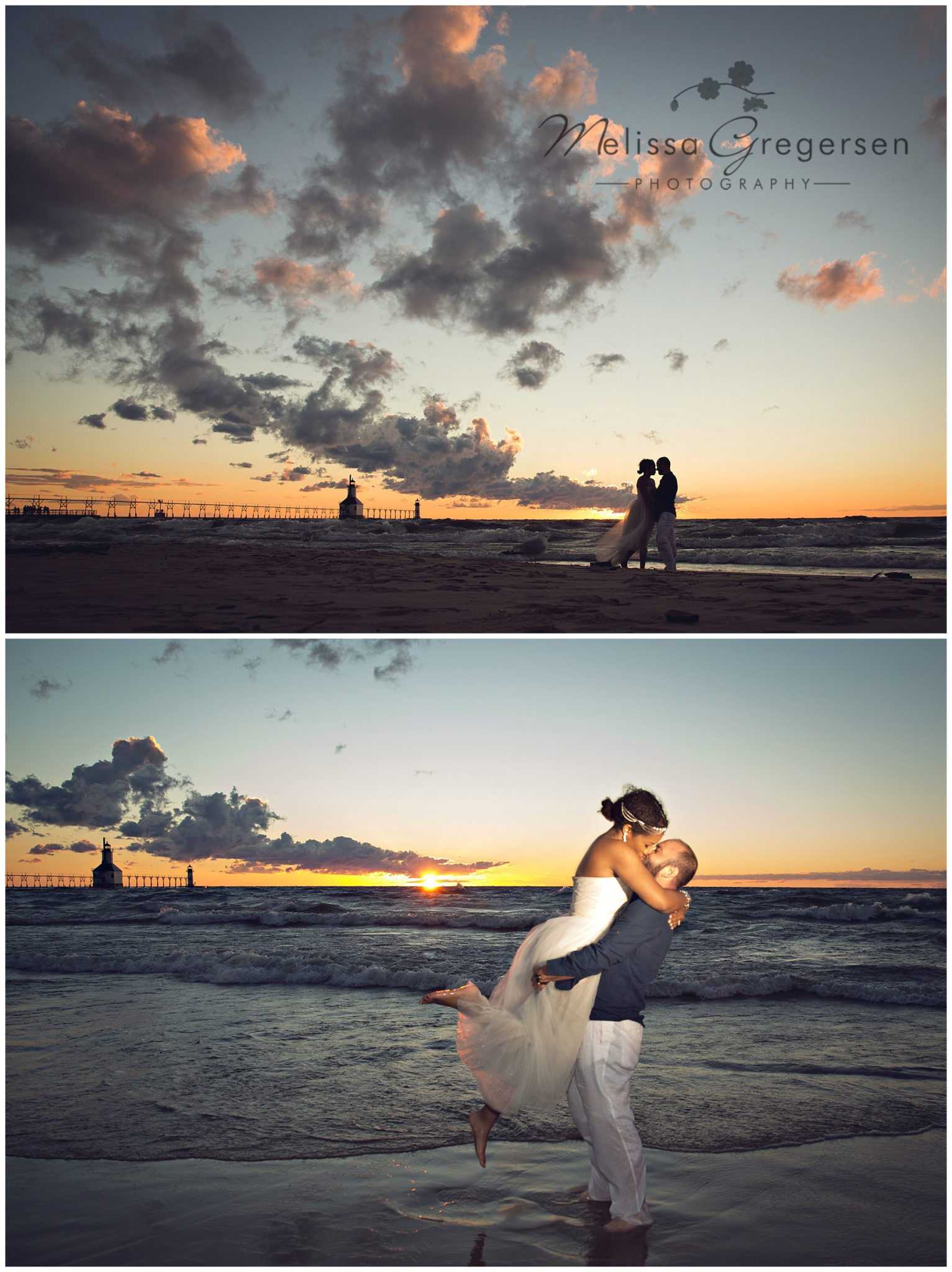 The most gorgeous sunset in St. Joseph Michigan for this engagement session - Gregersen Photography