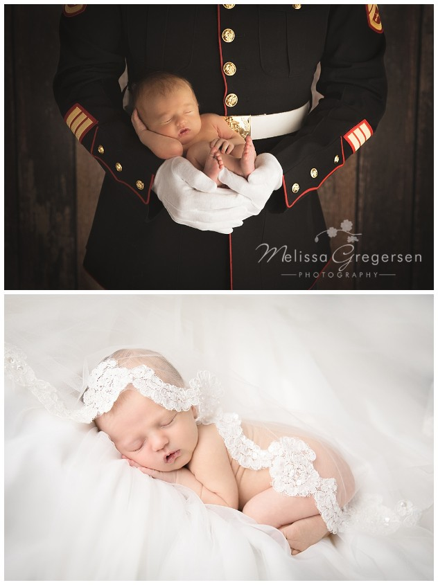 Newborn in the arms of her daddy who is a Marine