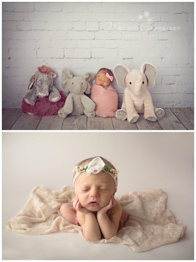 Newborn baby photographed with stuffed animal elephants