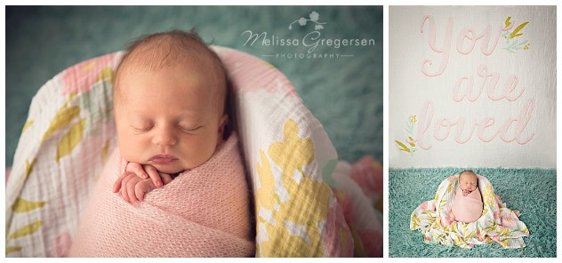 Newborn baby wrapped up for photography session at Gregersen Photography