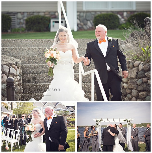 Bride and dad walking down the aisle at Bay Pointe Inn on Gun Lake photographed by Melissa Gregersen Photography