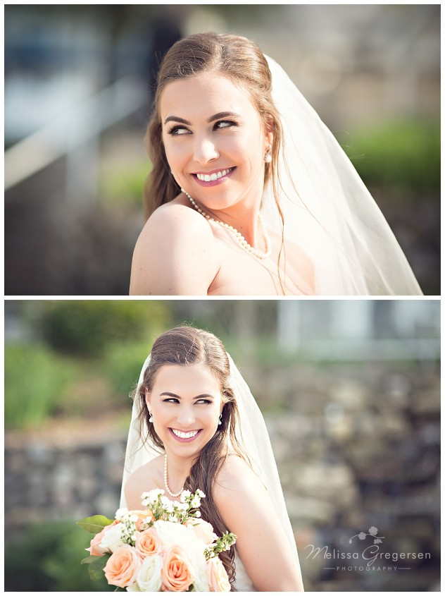 Happy bride and smile at Bay Pointe Inn on Gun Lake photographed by Melissa Gregersen Photography