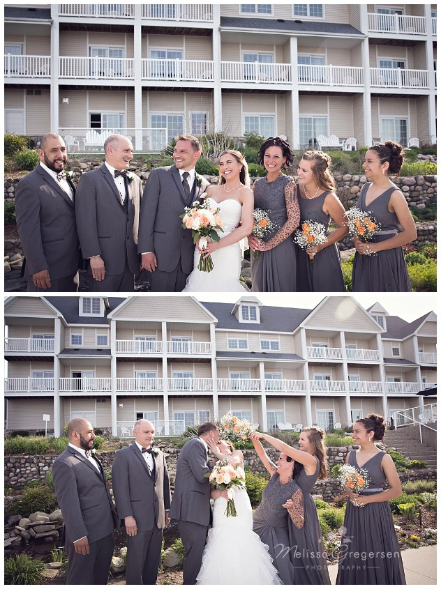 Candid fun bridal party in front of Bay Pointe Inn on Gun Lake photographed by Melissa Gregersen Photography