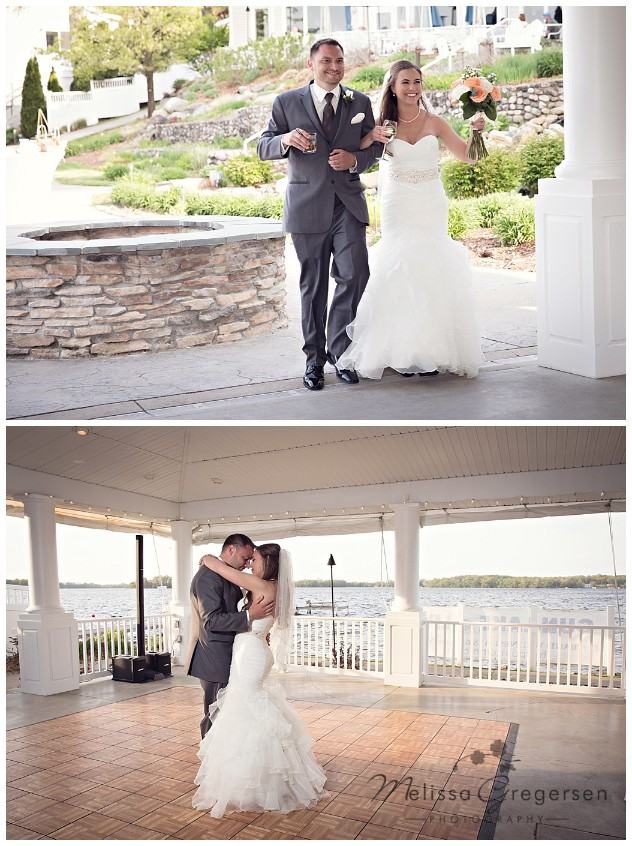 Celebrating their wedding at their reception and first dance at Bay Pointe Inn on Gun Lake photographed by Melissa Gregersen Photography