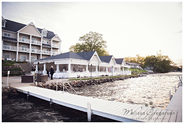 Bay Pointe Inn Wedding Pavilion at sunset photography by Gregersen Photography
