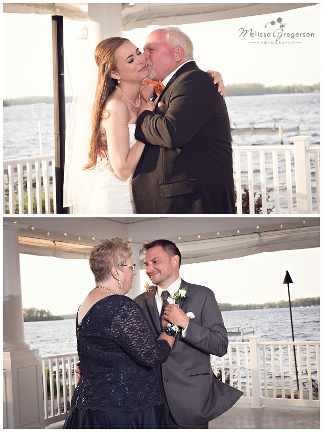 Parent dances with bride and groom are always cherished memories at Bay Pointe Inn on Gun Lake photographed by Melissa Gregersen Photography