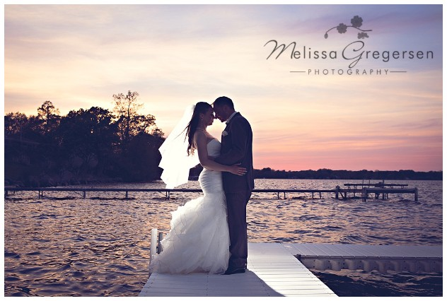 Bride and groom photos at sunset at Bay Pointe Inn on Gun Lake photographed by Melissa Gregersen Photography