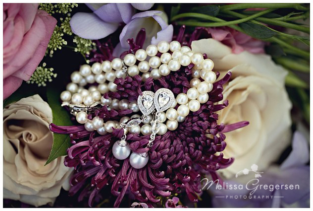 Family jewelry and heirlooms documented in the bridal bouquet