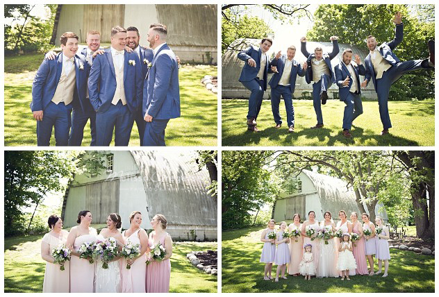 Fun wedding parties make the best photographs with the rustic barn in the background