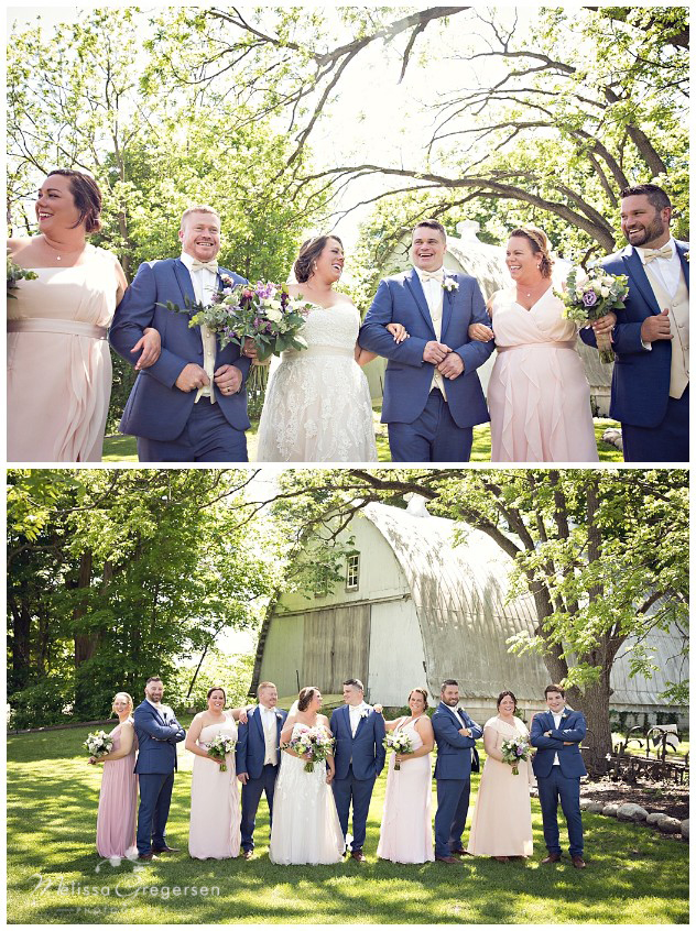 Bridal party laughing at each other and having fun at the vintage rose barn