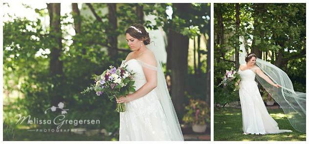 Breathtaking bride on her one and only wedding day off the shoulder dress with long cathedral veil