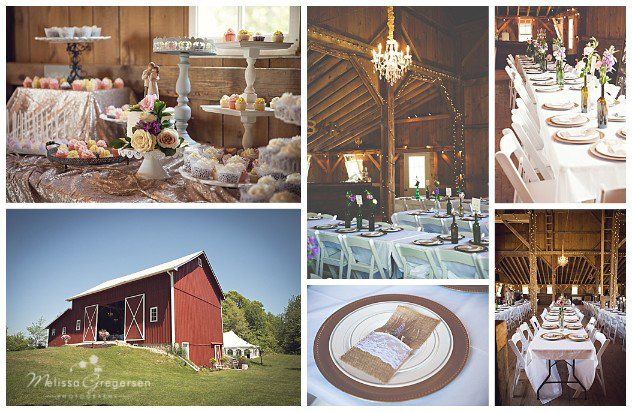 Rustic burlap Wedding reception details at the Vintage Rose Barn in Gobles Michigan