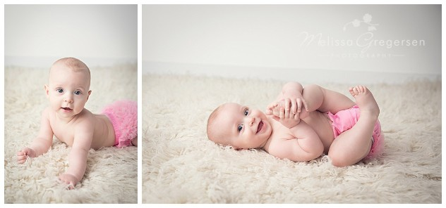 Classic baby pose on the tummy and on the back playing with toes Gregersen Photography