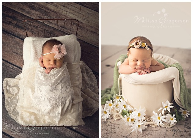 Newborn in a neutral bucket surrounded by daisies.