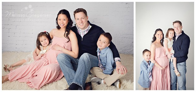 Family photograph with pregnant mom at studio photography session at Gregersen Photography