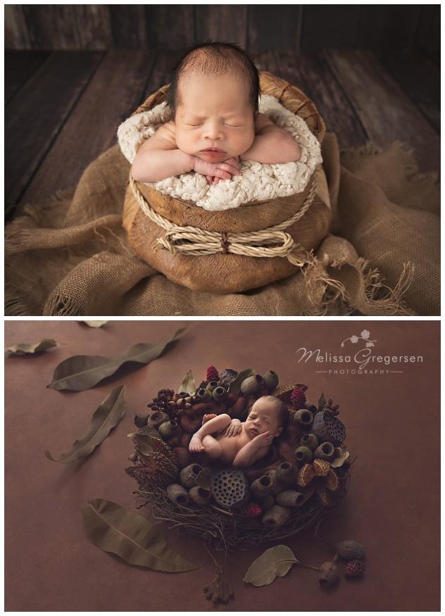 Newborn baby boy in neutral rustic basket
