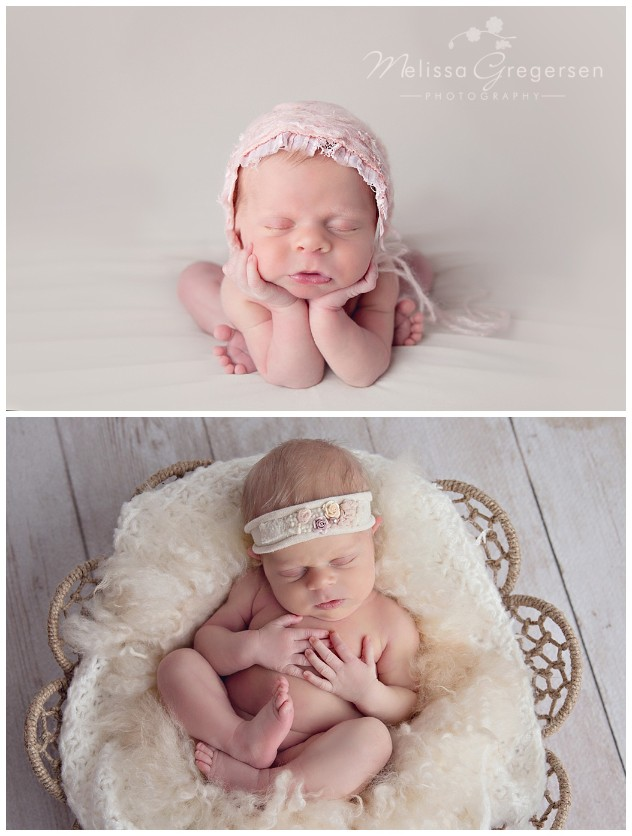 Newborn baby with pink bonnet in froggy pose and neutrals in a basket.