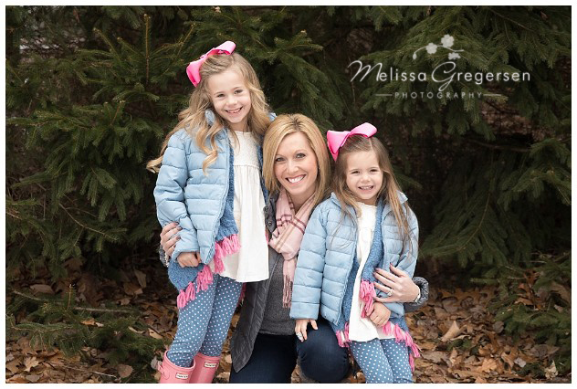 Gorgeous Mother and her equally as beautiful daughters pose for a fall photo