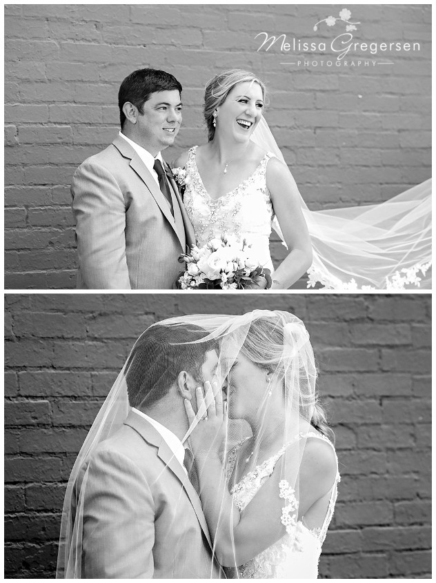 Black and white candids of the bride and groom after the ceremony.