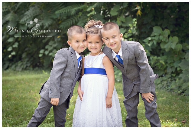 The three new siblings looking adorable in their gray, blue, and white color scheme.
