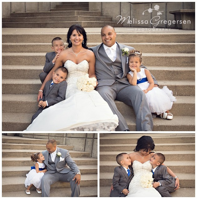 The concrete steps on the property made for perfect first family photos for this group!