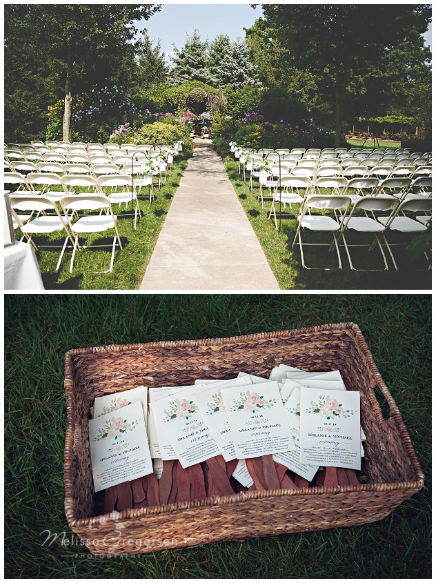 A warm outdoor setting for the wedding made it necessary for the programs to have two purposes. The fans were appreciated by the guests!