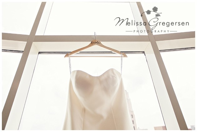 Simple and beautiful bridal gown image in the Grand Loft Suite at the Radisson