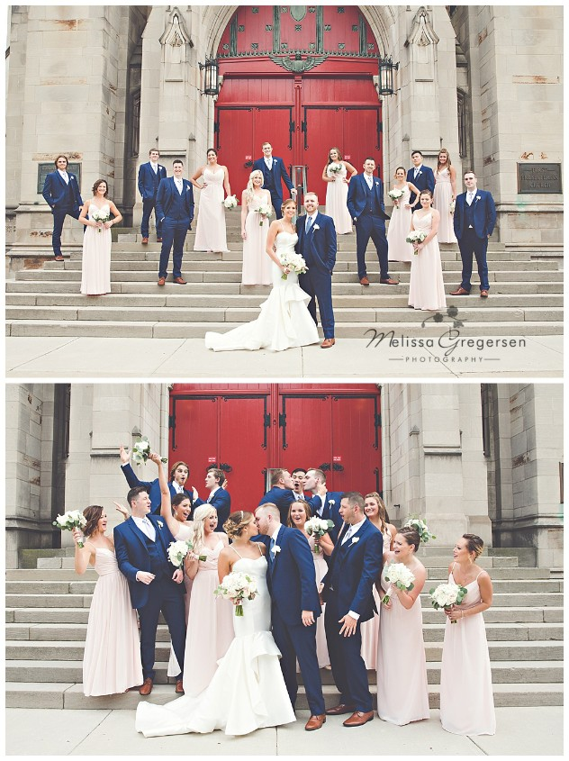 A huge red door to a local chapel makes this bridal party portrait stand out!