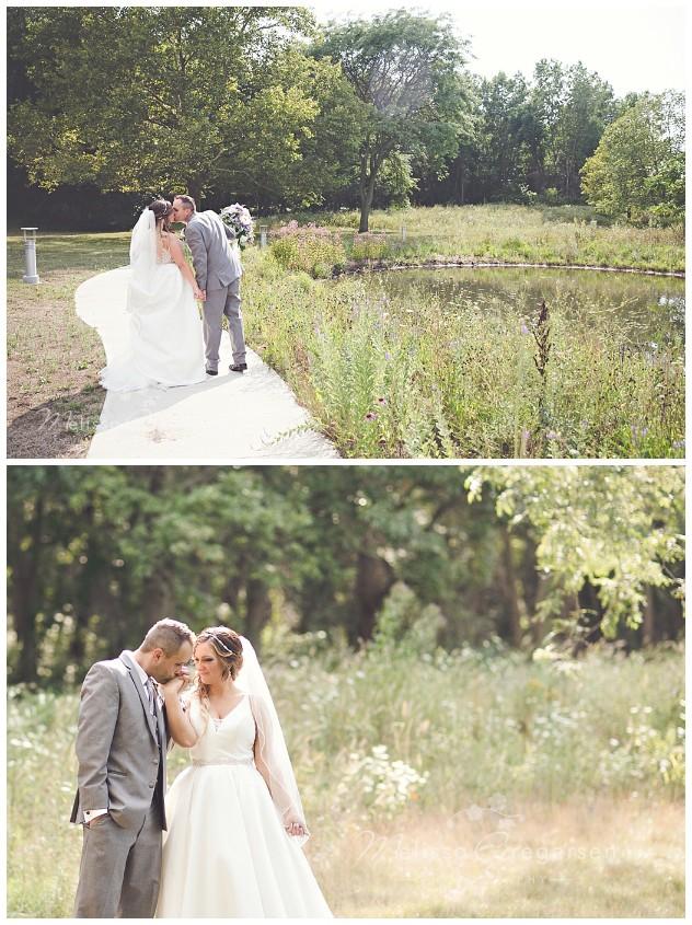 Outdoor backlit wedding portraits at the Fetzer Center