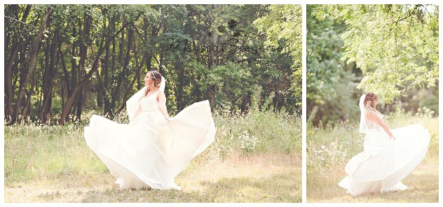 Bride twirling and dancing in her wedding dress at the Fetzer Center
