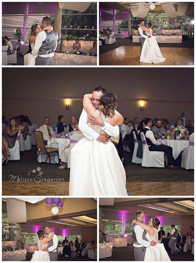 Bride and groom share their first dance.