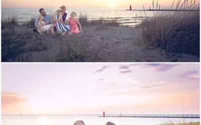 Families creating memories through photographs on Lake Michigan