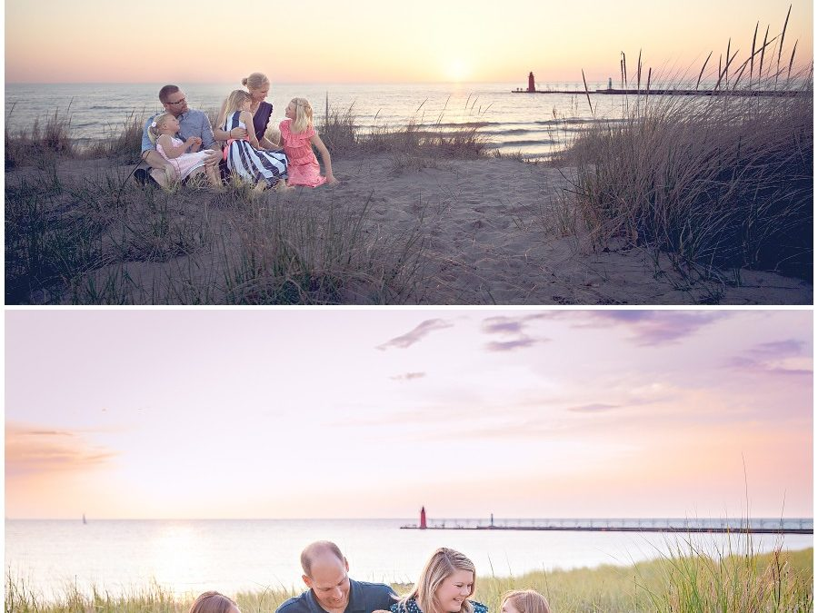Families creating memories through photographs on Lake Michigan