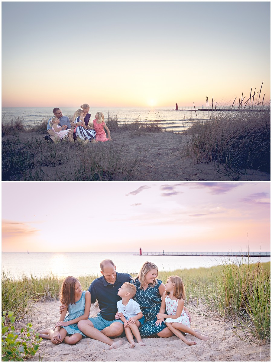 Family photographed on the beach in South Haven Michigan at Lake Michigan