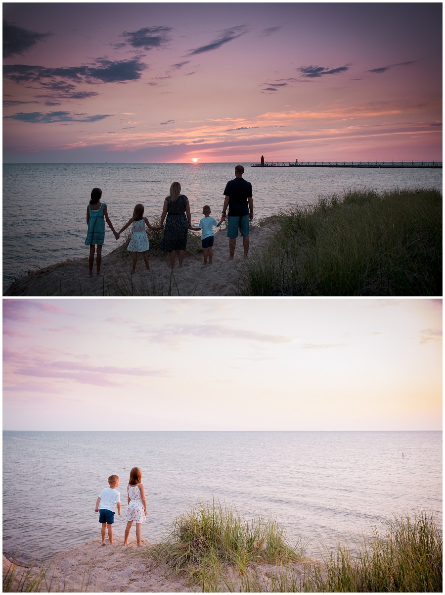 Family photographed at sunset on Lake Michigan
