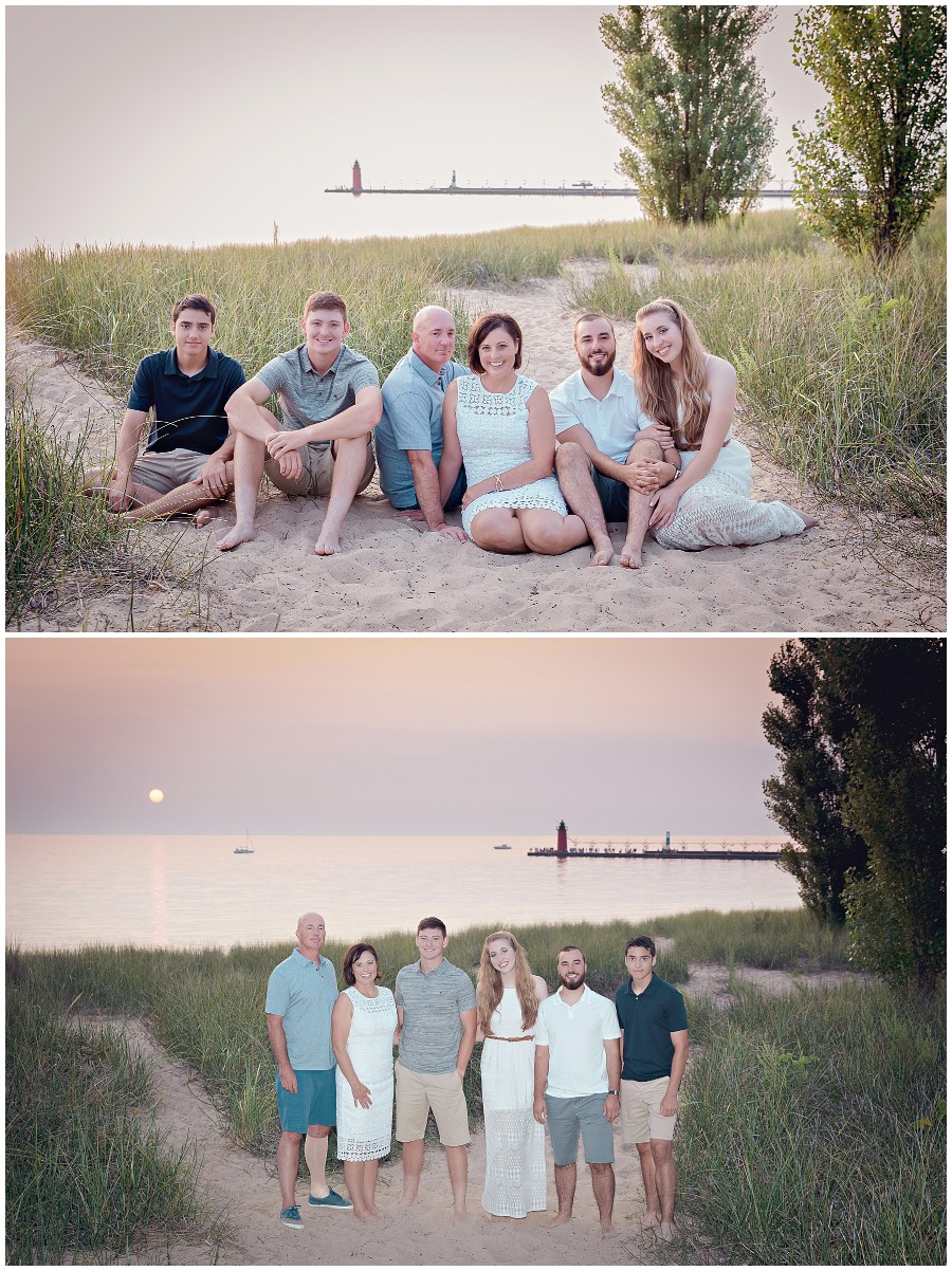 Families photographed on the beach in South Haven Michigan