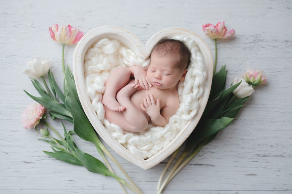 Newborn baby in a heart bowl with tulips for Spring at Gregersen Photography Studio