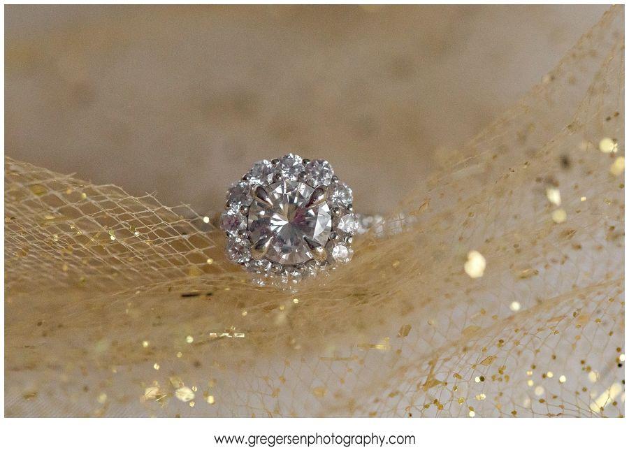 Wedding ring on gold detailing