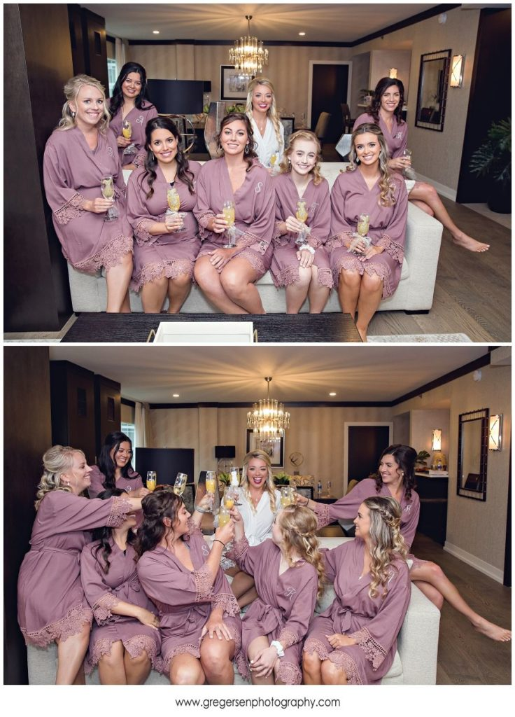 Bride with bridesmaids in robes before the wedding