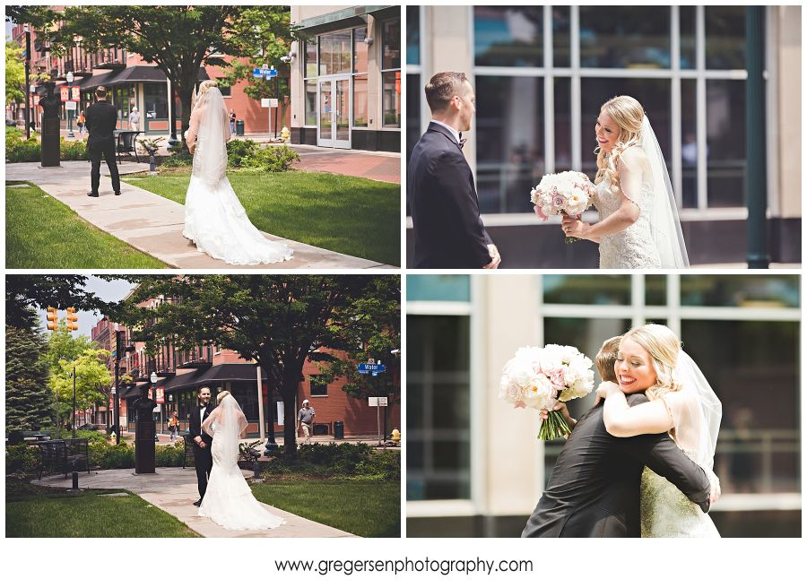 Bride and groom seeing each other for the first time on their wedding day