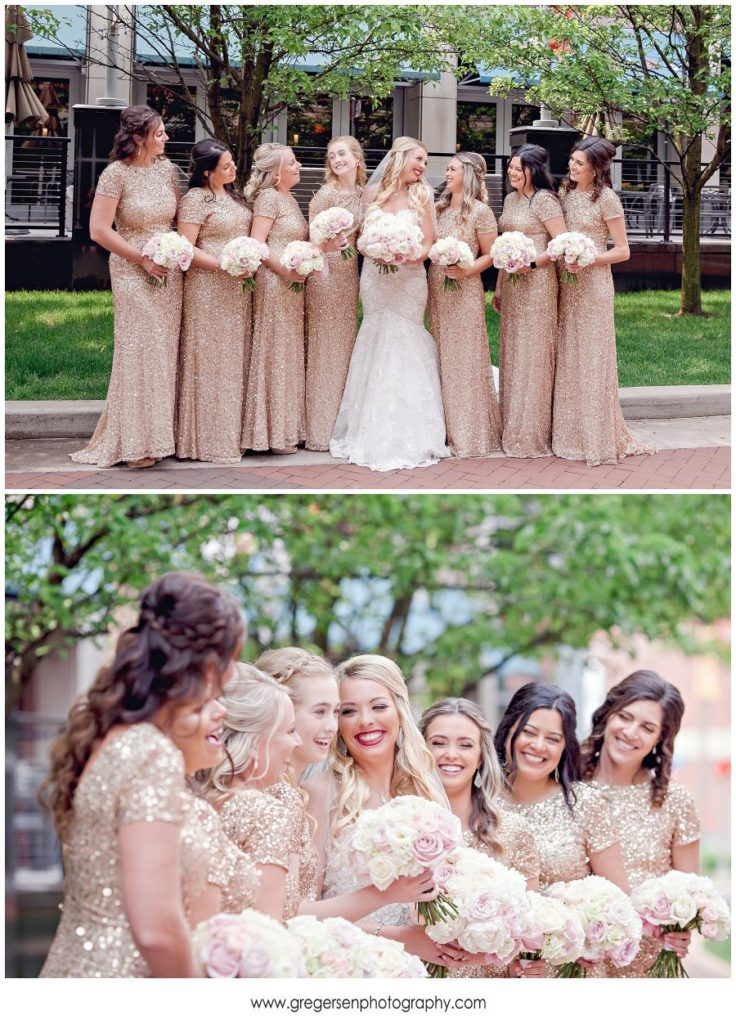 bride with her bridesmaids at the Radisson in Kalamazoo