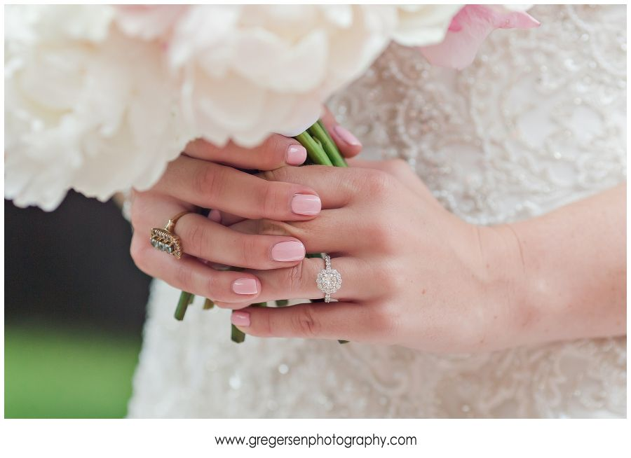 bride's wedding ring and bouquet