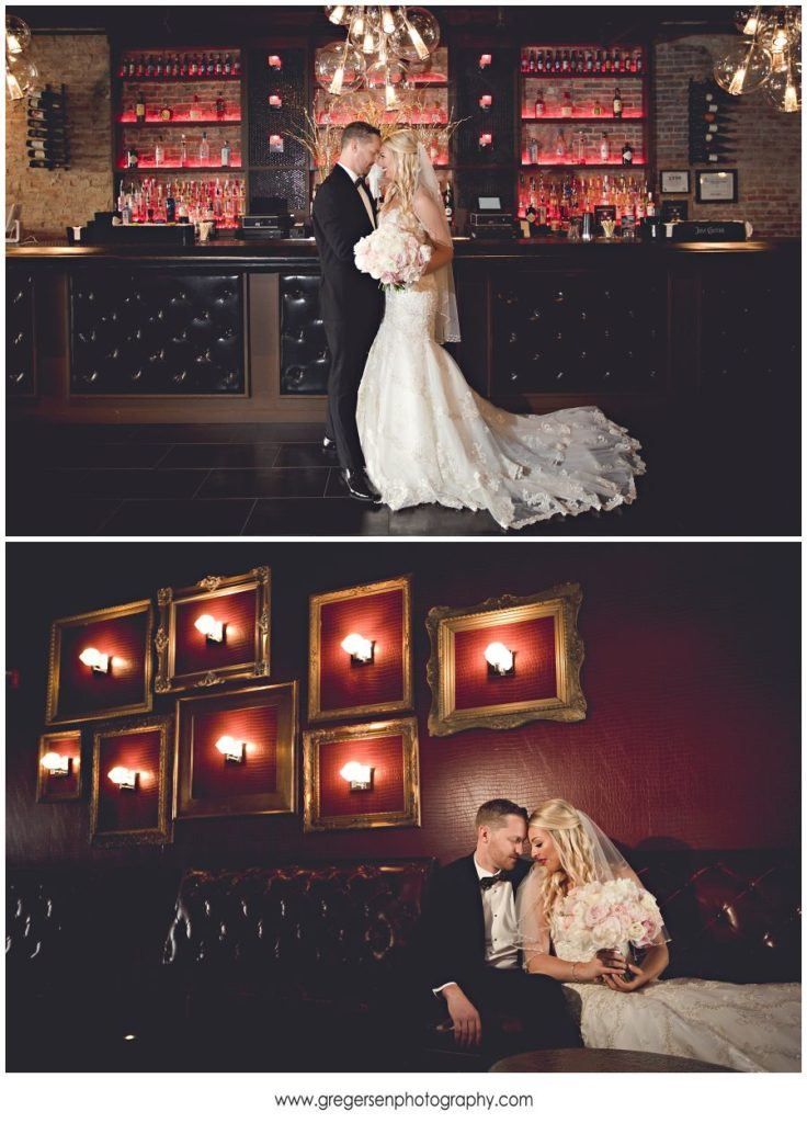 Bride and Groom portraits at the gatsby in kalamazoo