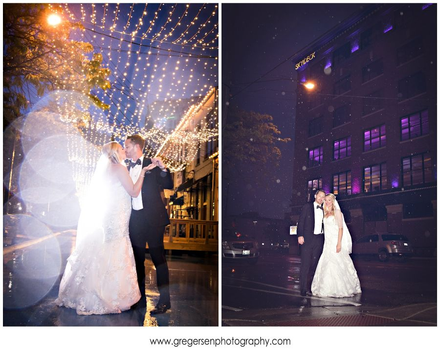 bride and groom with outside twinkle lights at LOFT 310