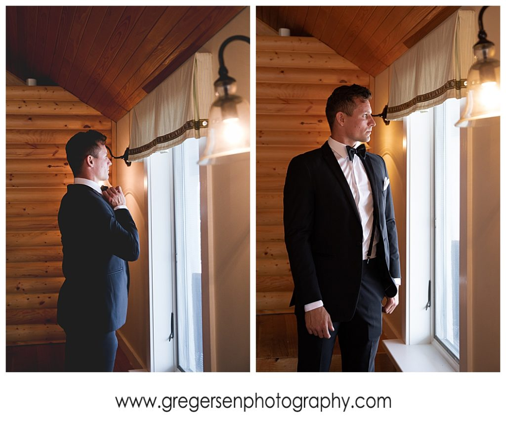 Groom getting ready at Bay Pointe Inn Boathouse