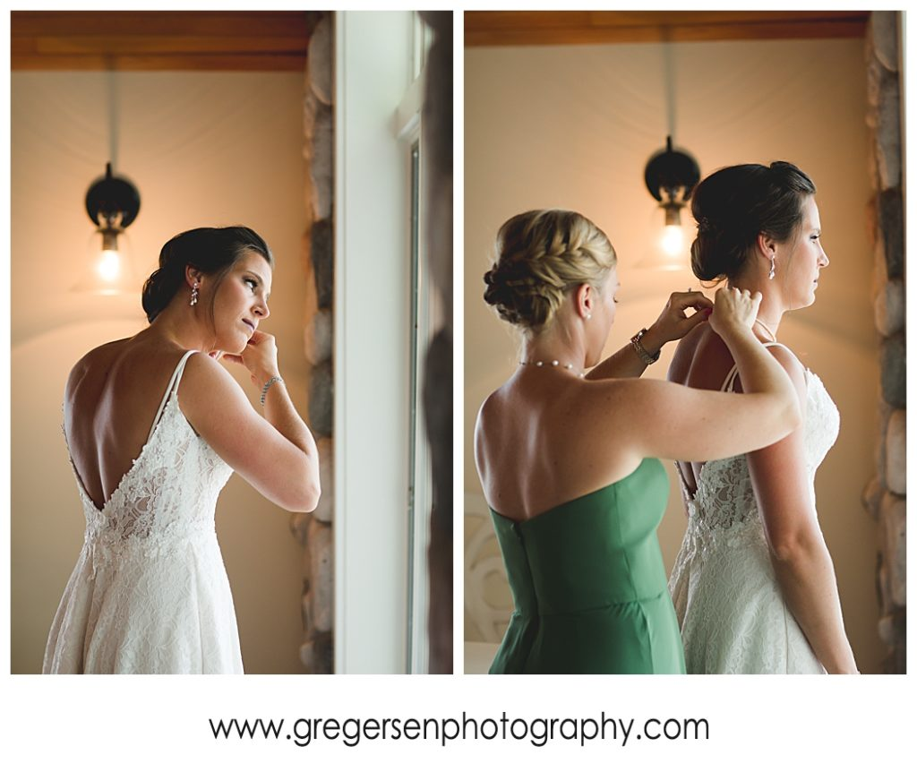 Bride getting ready at Bay Pointe Inn Boathouse