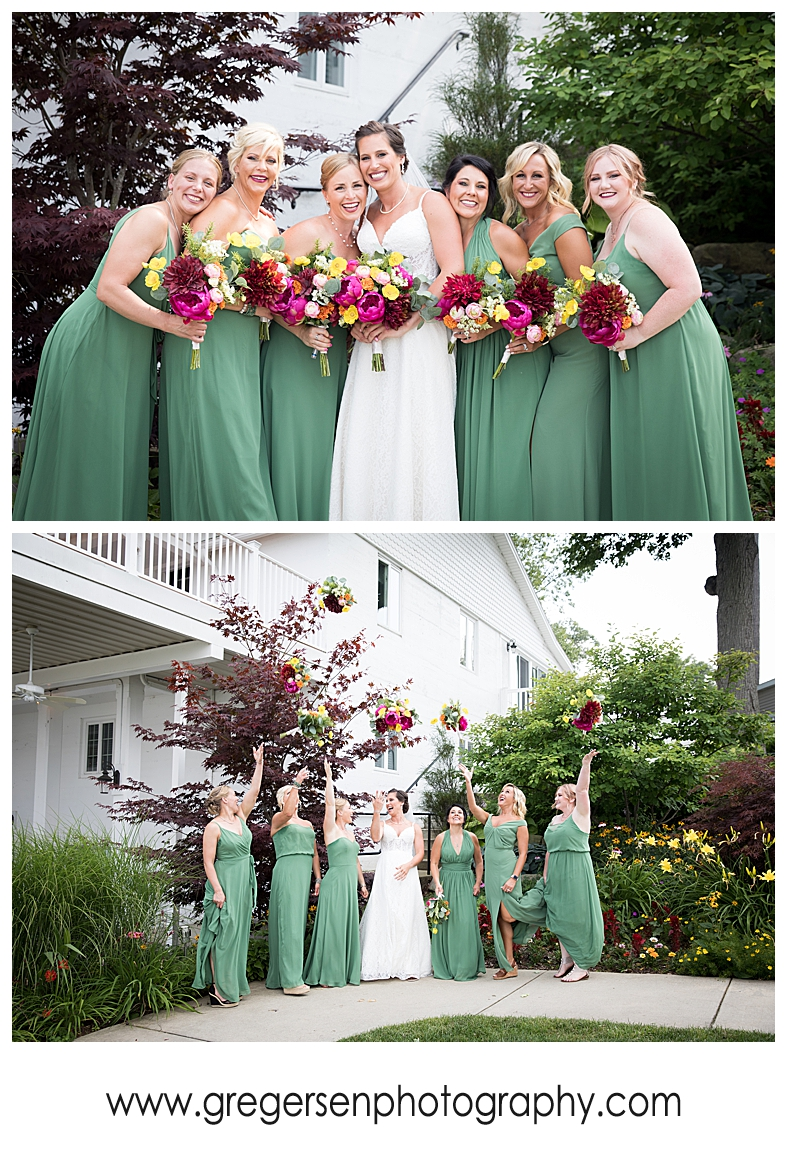 bride and bridesmaids at the boathouse at bay pointe inn