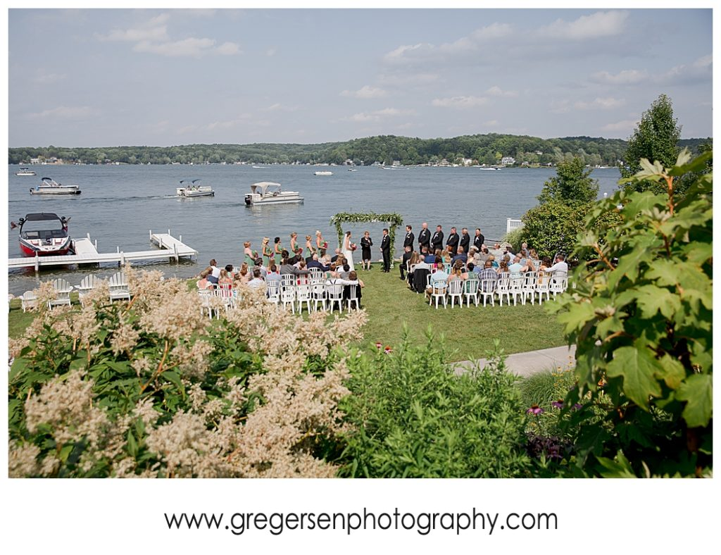 wedding ceremony at bay pointe inn